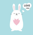 white bunny rabbit holding heart talking thinking vector image vector image