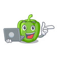 with laptop green pepper in the plate character vector image