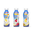 yogurt bottles set with fruits banana apple pear vector image vector image