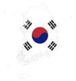 background south korea map and flag vector image vector image