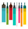 brushes with colorful paint smudges vector image