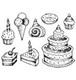 cakes drawings collection vector image vector image