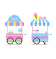 candy cotton and ice cream wagons pattern vector image