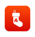 christmas sock icon digital red vector image vector image