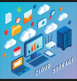 cloud storage flat isometric vector image vector image