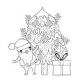 cute christmas santa claus with pine tree vector image vector image