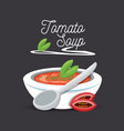 delicious tomato soup menu restaurant vector image vector image