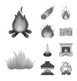 design of fire and flame symbol collection vector image
