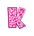 english pink letter k on a white background vector image vector image