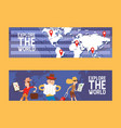 explore world set banners vector image vector image
