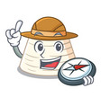 explorer italian ricotta cheese on mascot cartoon vector image vector image