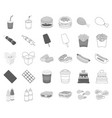 fast food monochromeoutline icons in set vector image