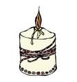 fat burning candle with ribbon ink vector image vector image