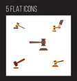 flat icon court set of court hammer crime and vector image vector image
