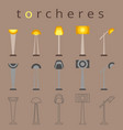 floor lamp icon flat design torchere vector image