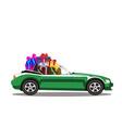 green modern cartoon cabriolet car full of gift vector image vector image