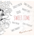 Hand drawn background of sweet elements vector image