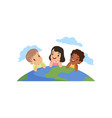 happy little kids of different nationalities lying vector image vector image