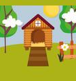 house hen fence flower and trees farm cartoon vector image vector image