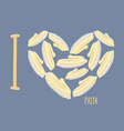 I love pasta Symbol heart of plates with spaghetti vector image vector image