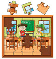 jigsaw puzzle pieces with boys cleaning classroom vector image vector image