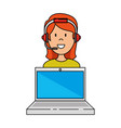 laptop with call center woman agent vector image vector image