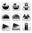 Mexican food buttons - tacos nachos burrito que vector image vector image