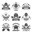 mineral and gold mining emblems vector image