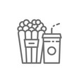 popcorn snack and drink cinema food line icon vector image