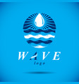 pure aqua ecology logo human water reserves theme vector image vector image