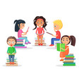 reading kids sits on heap of literature on white vector image vector image