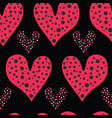 red brush stroke dotty love hearts with 1950s vector image