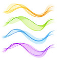 Set abstract color smoke wave transparent wave
