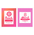 set greeting cards design 8 march day postcards vector image