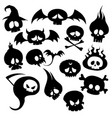 set of skulls and monsters collection of skulls vector image