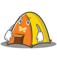 silent tent character cartoon style vector image