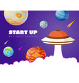 start up concept space background with ufo vector image