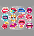 sticker lips provocative girl mouths cartoon vector image