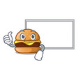 thumbs up with board cheese burger isolated on a vector image vector image