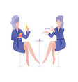 two women at beauty salon doing spa procedures vector image vector image