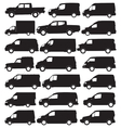 Van and pickup silhouettes vector image vector image