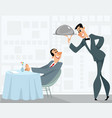 waiter and satisfied customer vector image