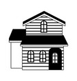 wooden house real estate in black and white vector image
