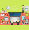 working place office desk concept in flat design 4 vector image vector image