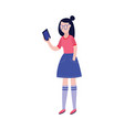 young woman using mobile phone or making photo vector image vector image