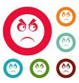 angry smile icons circle set vector image