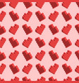 pixelated red hearts on pink background seamless vector image