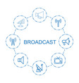8 broadcast icons vector image vector image