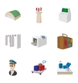 Airport check-in icons set cartoon style vector image vector image