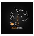 arabic coffee logo design background vector image vector image